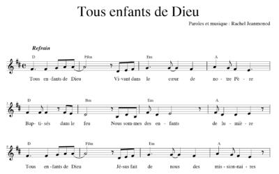 Chant : Tous enfants de Dieu